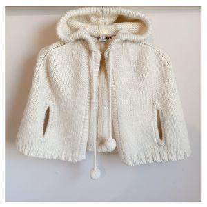 ANN TAYLOR LOFT Wool Off-White Hooded Cape EUC